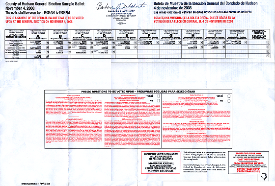 New Jersey 2008 Sample Ballot